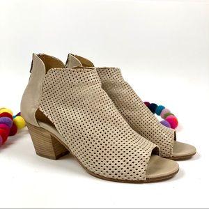 Joy Wendel Leather Peep-toe Booties Perforated 7.5
